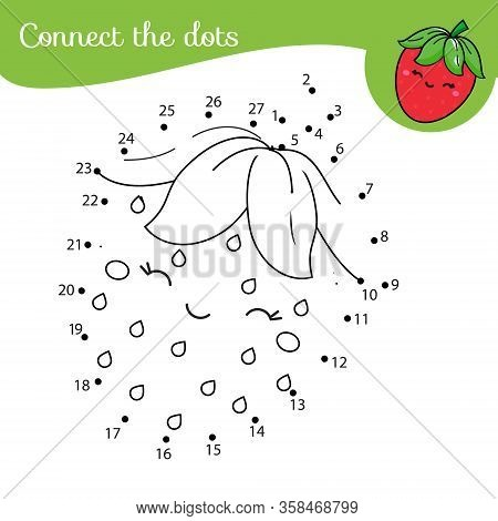 Cute Strawberry Connect The Dots. Dot To Dot By Numbers Activity For Kids And Toddlers. Children Edu