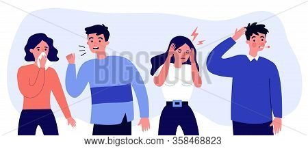 Young People Suffering From Flu Symptoms Flat Vector Illustration. Cartoon Infographic Person Sneezi