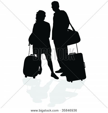 Couple With A Suitcase Vector