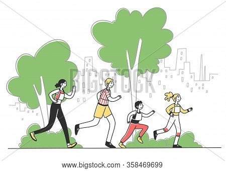 Happy People Running Marathon In City Park Flat Vector Illustration. Family Jogging Together. Man An