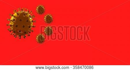 Model Of Covid-19 Coronavirus Colored In National China Flag, Concept Of Pandemic Spreading, Medicin