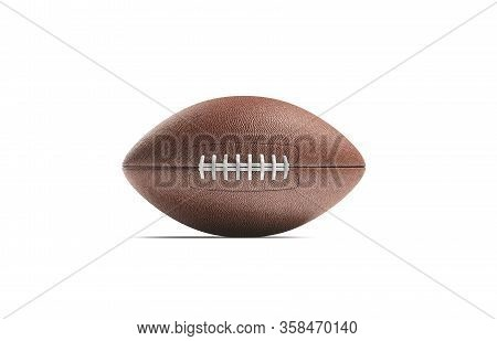 Blank Brown American Soccer Ball Mock Up, Front View, 3d Rendering. Empty Leather Bal For States Foo