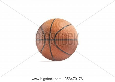 Blank Rubber Basketball Ball Mockup, Front View, 3d Rendering. Empty Playing Textured Sphere For Com