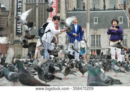 Amsterdam October 2018 , Chinese People Feeding Birds On The Dam Squre In The Netherlands City Of Am