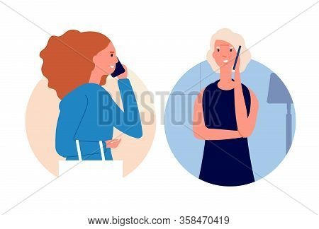 Phone Talking. Call Mother, Women Talking Cellphone. Daughter Has Conversation With Elderly Mom. Dia