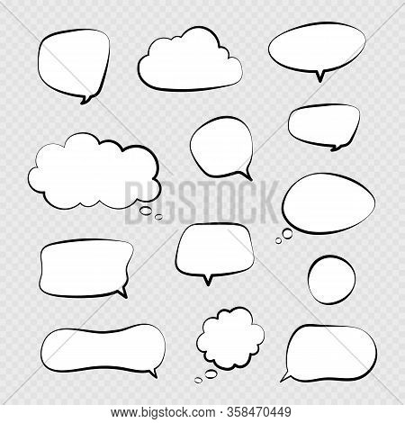 Speech Bubbles. Comic Talking Bubble, Dialogue Or Thinking Cloud. Isolated Cartoon Chat Balloons Vec
