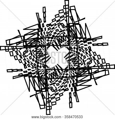 Abstract Arabesque Inside Tower Like Wired Stairs Vertical Structure Illusion Perspective Design Bla