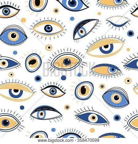 Eye Pattern. Abstract Evil Eyes Fabric Print. Mystic Eyelid With Eyelash, Energy Talisman Background