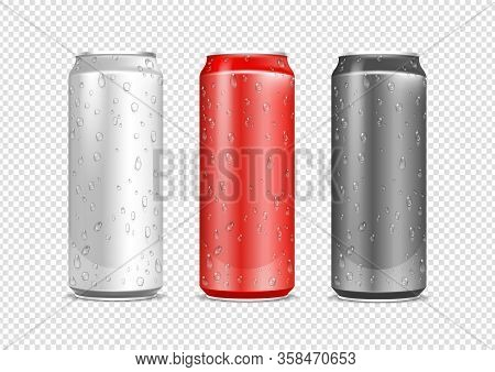 Aluminium Cans. Realistic Water Drops On Drink Package. Red And Metal Can Isolated On Transparent Ba