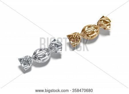 Blank Silver And Gold Hard Candy Foil Wrapper Mockup, Isolated, 3d Rendering. Empty Metal Cellophane