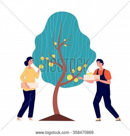 Investment Profit. Finance Tree, Cash Money And Businessman Strategy Revenue. Economy Income Metapho