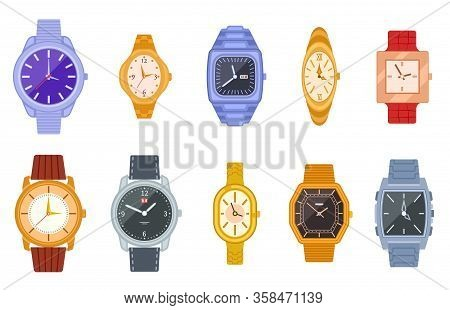 Classic Watch. Wrist Watches, Women Men Clock. Isolated Fashion Expensive Female Male Timer Chronogr