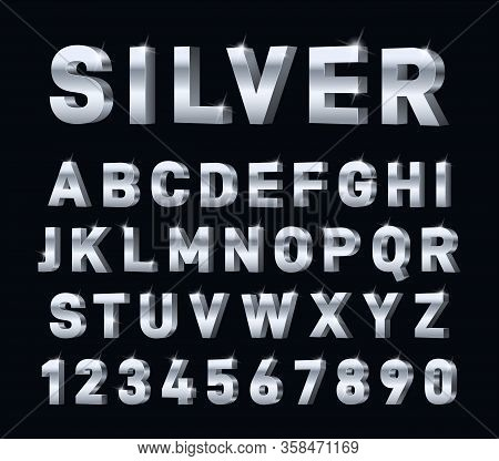 Silver Font. 3d Steel Chrome Alphabet. Metal Letters And Numbers, Metallic Platinum Typography Decor