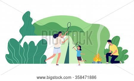 Family Camping. Forest Recreation, Mountain Outdoor Camp. Summertime Vacation. Mother Father Daughte