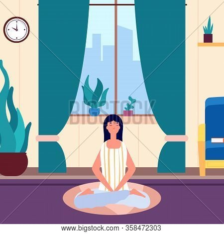 Meditation Woman. Girl Keep Calm In Living Room. Yoga Workout, Morning Or Evening Relax. Female Savi