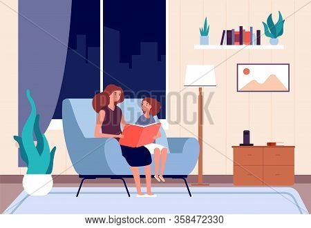 Mother Reading Book. Mom Read Bedtime Story To Her Daughter. Night Fairytale, Happy Childhood. Paren