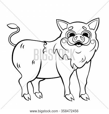 Cute Cartoon Wild Boar Vector Coloring Page. Happy Hog. Coloring Book Of Forest Animals For Kids.
