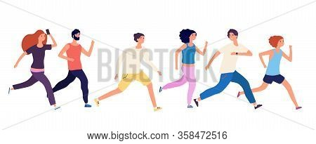 Running People. Crowd Jogging, Isolated Runners. Adult Group Athletic, Healthy Activity Men Women. F