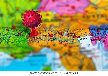 Covid-19 Outbreak Or New Coronavirus, 2019-ncov, Virus Pin In Turin On Map Of Italy. Covid 19-ncp Vi