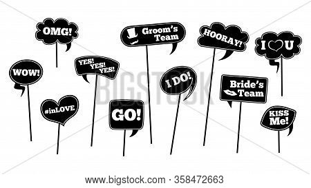 Wedding Props. Isolated Photo Booth Decoration. Bride Groom Black Speech Bubbles, Love Party Element