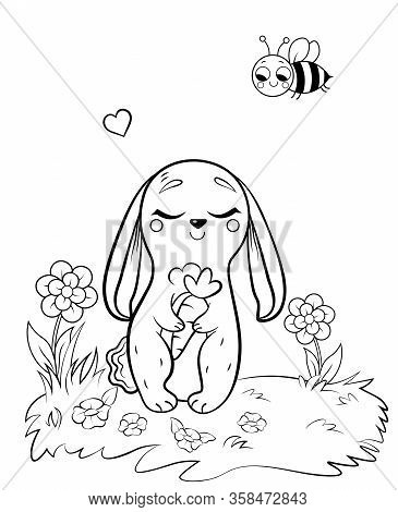Coloring Page Outline Of Cute Cartoon Hare With Carrot. Vector Image With Nature Background. Colorin