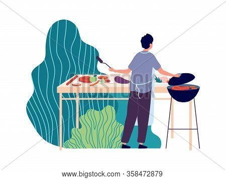 Summer Bbq. Man Fried Meat On Nature. Summertime Picnic, Man Cooking Fresh Food Vector Illustration.