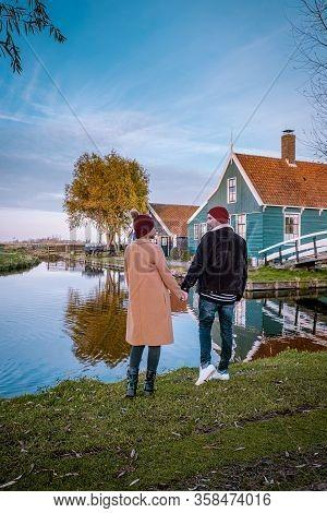 Sunrise Zaanse Schand Dutch Windmill Village, Windmill Village Zaanse Schans, Green Wooden House At