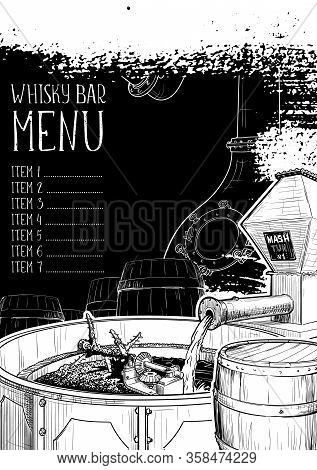 Menu Templated For The Whisky Related Businesses. Black And White Sketch Imitating Chalk Drawing On