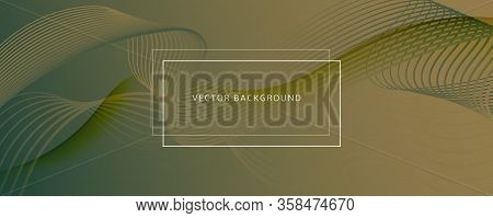 Green Landing Page Design. 3d Flow Line Banner. Vivid Digital Background. Brown Dynamic Template. La
