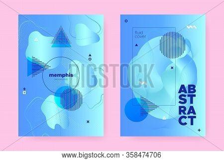 Pastel Hipster Memphis Gradient. Modern Flow Design. Liquid Cover. Summer Business Magazine. Abstrac