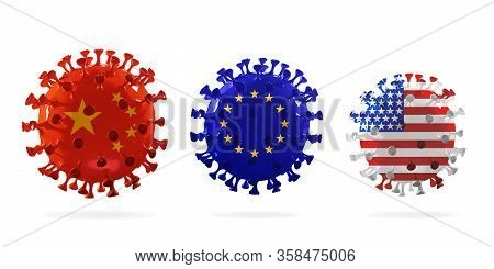 Model Of Covid-19 Coronavirus Colored In National China, Eu And Usa Flag, Concept Of Pandemic Spread