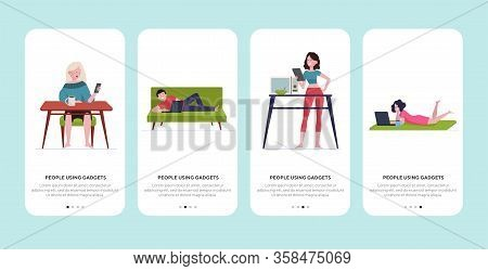 People Using Gadgets At Home Set. Laptop, Smartphone, Tablet Users Enjoying Leisure Flat Vector Illu
