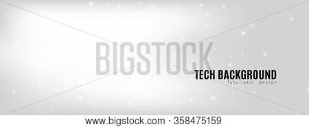 Cosmic Technology Visualization. Big Data Screen. Gray Digital Communication. White Wireframe Abstra