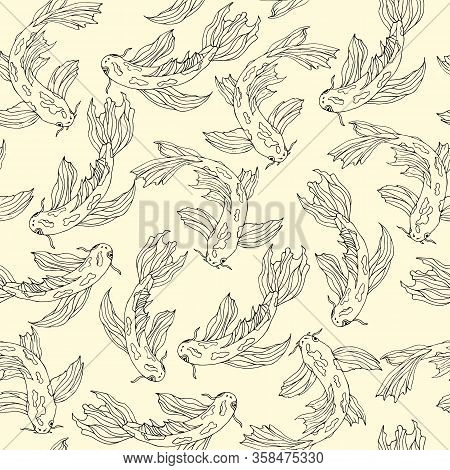 Japanese Seamless Pattern With Koi Carps. Hand-drawn Vector Illustration Of Contour Fish On A Yellow