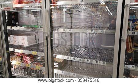 Gyor Hungary 03 17 2020: Empty Shelves In An Interspar Because Of The Coronavirus.