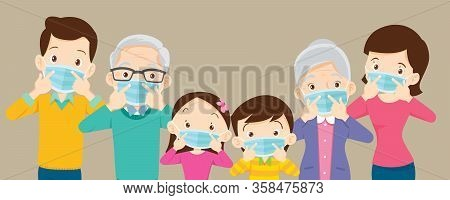 Family And Grandparent Wearing Protective Medical Mask For Coronavirus,covid-19, Wuhan And Show Vict
