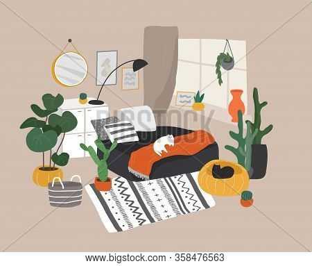 Scandinavian Or Nordic Style Living Room Interior. Hand Drawing Scandinavian Style Cozy Interior Wit
