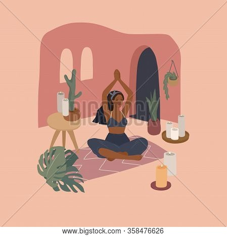Cute Girl Doing Yoga Poses. Lifestyle By Young Woman In Home Interior With Homeplants. Fashion Illus