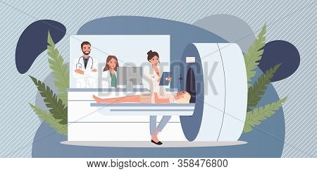 Magnetic Resonance Tomography. Female Patient, Scanner, Mri Flat Vector Illustration. Neurology, Exa