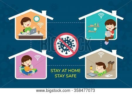 Stay At Home Stay Safe,corona Virus ,covid-19 Campaign To Stay At Home.children Boy And Girl Using T