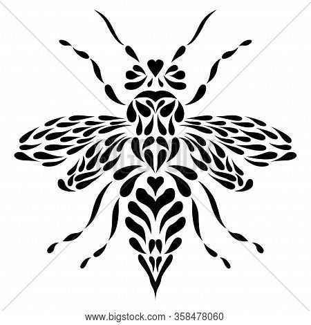 Vector Abstract Bee Or Wasp In Tattoo Style On White Background. Isolated Vector Illustration. Bee B