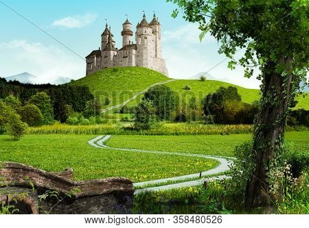 Enchanting Old Fairytale Castle On A Top Of A Hill, In An Idyllic Landscape, 3d Render.