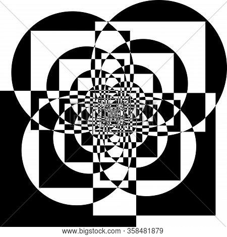 Abstract Arabesque Inside Tower Circle And Square Game Perspective Design Black On Transparent Seaml