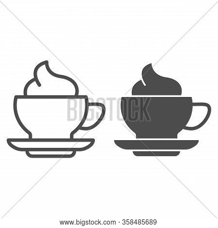 Coffee And Cream Line And Solid Icon. Hot Drink Mug Of Frappe With Milk Ice-cream Symbol, Outline St