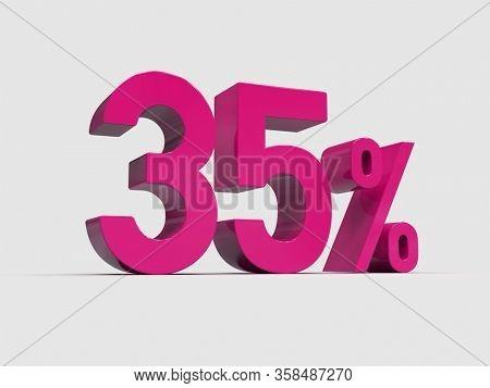 3d Render: Pink 35% Percent Discount 3d Sign on Light Background, Special Offer 35% Discount Tag, Sale Up to 35 Percent Off, Thirty-five Percent Letters Sale Symbol, Special Offer Label, Sticker, Tag