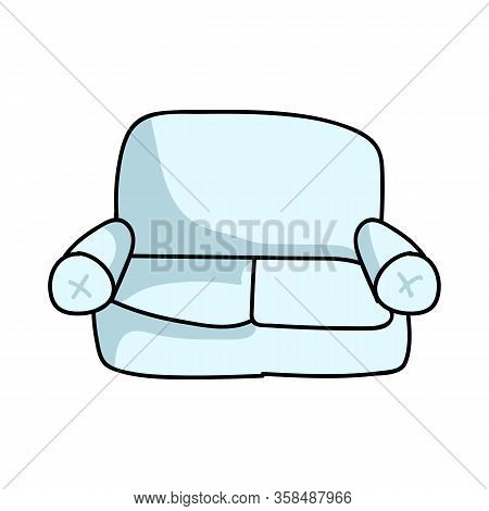 Cute Cartoon Lounge Couch For Household Furniture Vector Clipart. Home Decor Living Room Seat Sofa F