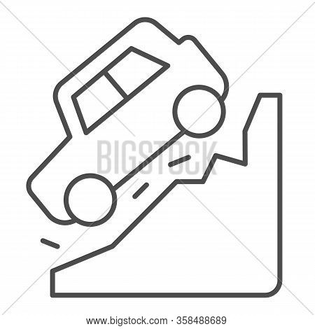 Steep Descent Thin Line Icon. Auto Coming From Incline Mountain Downwards Symbol, Outline Style Pict