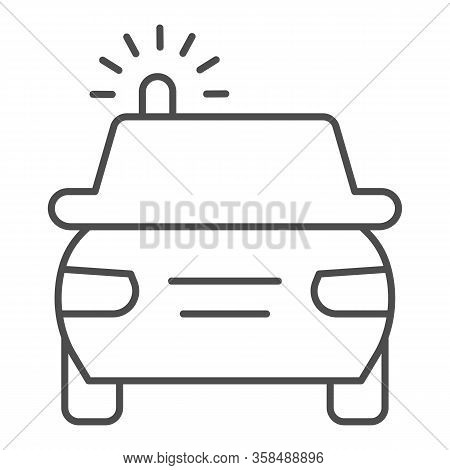 Police Car Thin Line Icon. Cop Automobile With Rooftop Flashing Lights Symbol, Outline Style Pictogr