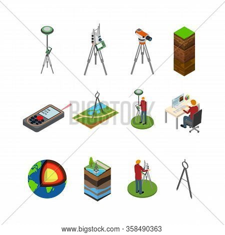 Earth Exploration Concept Icon 3d Isometric View Include Of Research Instrument, Exploration Ground,