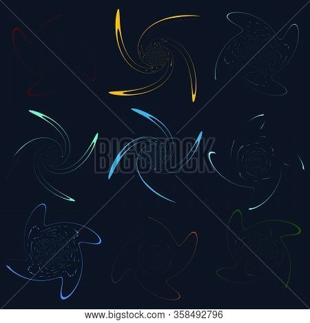 Set Of Single-colored,monochrome Twirl, Swirl. Shape With Rotation, Spin, Spiral Distortion. Helix,